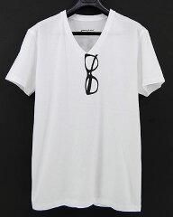 【メール便発送で送料無料 tシャツ メンズ レディース】だまし絵 Tシャツ。 greenpoint★ Vネック 転写Tシャツ ★メガネ★【はんそで/T-SHIRTS/men's】【騙し絵 眼鏡】【白 ホワイト】【眼鏡】【半袖tシャツ グラフィックTシャツ プリントTシャツ】【05P30May15】
