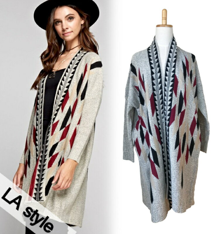 LA style(LAスタイル)『MULTI COLOR GEO PRINT CARDIGAN』