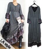 [LA style/LAスタイル]UMBRELA SLEEVE PAISLEY CONTRAST MAXI DRESS / アンブレラスリーブ ペイズリー柄 フレア ロング マキシ ワンピース
