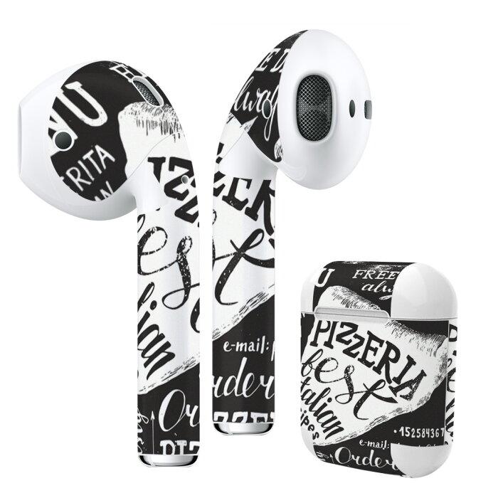 Air Pods 専用 デザインスキンシール airpods エアポッド apple アップル イヤフォン イヤホン カバー デコレーション アクセサリー エアフリー デコシール014484 カフェ ピザ メニュー