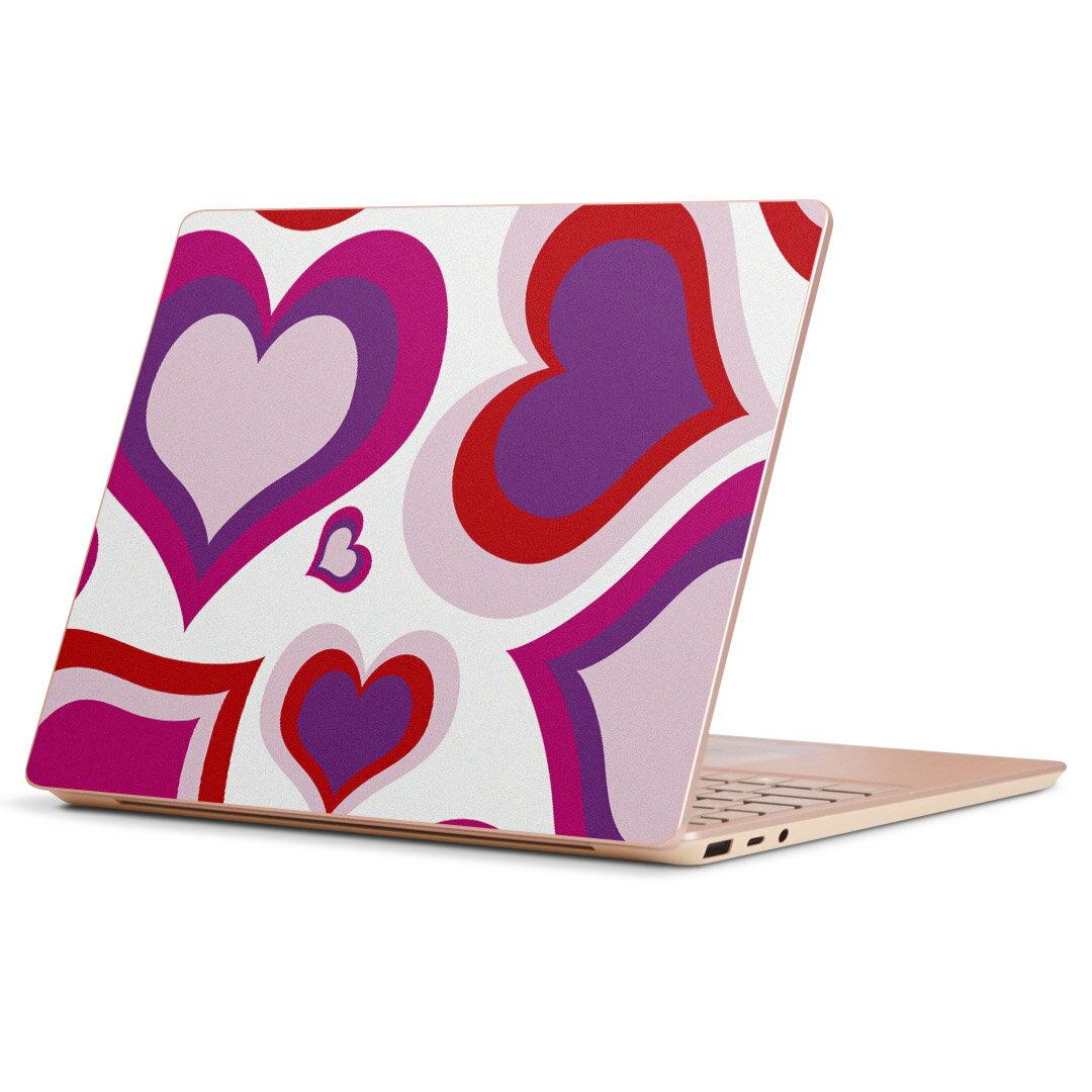 Surface Laptop Go (2020) 専用 スキンシール Microsoft サーフェス サーフィス ノートブック ノートパソコン カバー ケース フィルム ステッカー アクセサリー 保護 004386 ラブリー ハート 模様 ピンク画像
