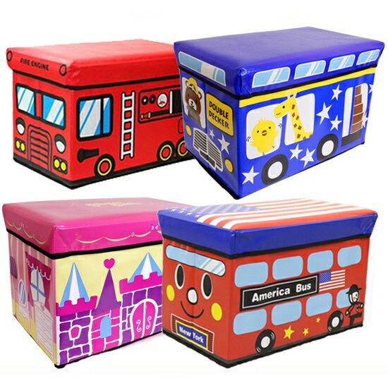 座れる 収納スツール キッズ ストレージボックス バス 収納 収納ボックス おもちゃ箱 トイボックス ケース おもちゃ入れ スツール お片付け キッズスペース レッド ブルー ピンク 消防車 アイス ピンク フルーツ アメリカ イエロー