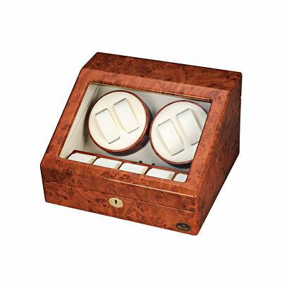 エスプリマ 自動巻き時計用ワインダー ローテンシュラガー LUHW 木製4連ワインディングマシーン ダークウッド 腕時計収納 ディスプレイに おちついたデザイン:デザイン家電・雑貨のemon