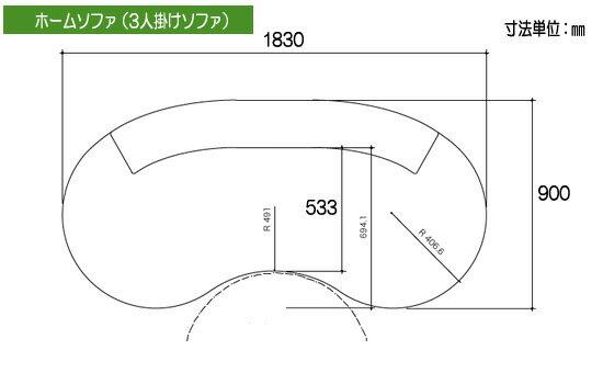 グッドデザイン柔らかい曲線オーダーホームソファ3人掛けレザー張り(NEON)ec032