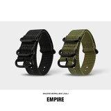 時計 ベルト 18mm 20mm 22mm EMPIRE 撥水 3D ナイロン ZULU ミリタリー 防水 時計ベルト 腕時計 バンド NATO ナトー