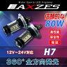 送料無料 AXZES 80W LED バルブ H7 2個セット ホワイト 12V 24V CREE製 新型チップ採用 ヘッドライト フォグランプ 全方向発光