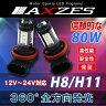 送料無料 AXZES 80W LED バルブ H8/H11 2個セット ホワイト 12V 24V CREE製 新型チップ採用 フォグランプ ヘッドライト 全方向発光