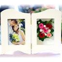 プリザーブドフラワー フォトフレーム 縦 ギフト 誕生日 お祝い プレゼント 電報 結婚式 両親 イ ...