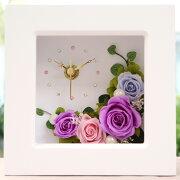 プリザーブドフラワー フレーム フラワー 置き時計 プレゼント ホワイト