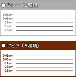 デリーターラインドローイングペンネオピコライン3グレーセット・セピアセットグレー全幅セット・セピア全幅セット(0.03mm/0.05mm/0.1mm/0.3mm/0.5mm)