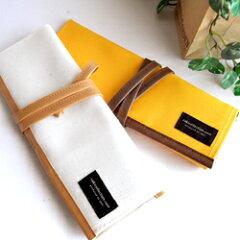 【SAKI COLLECTION/サキコレクション】帆布製 ロールペンケース オレンジ・きなり