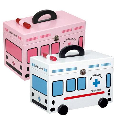 かわいい救急箱 ホワイトの救急車(G-2343N)・ピンクの救急車(G-2343P) キュアメイト/薬箱/救急箱/木製救急箱/サプリメントボックス/ファンシー/かわいい/おしゃれ/