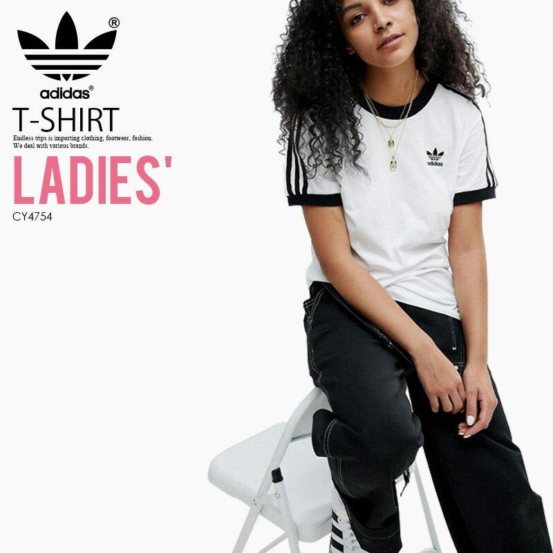 トップス, Tシャツ・カットソー ! ! T adidas () WOMENS 3-STRIPES TEE (3 T) LADYS T WHITEBLACK () CY4754