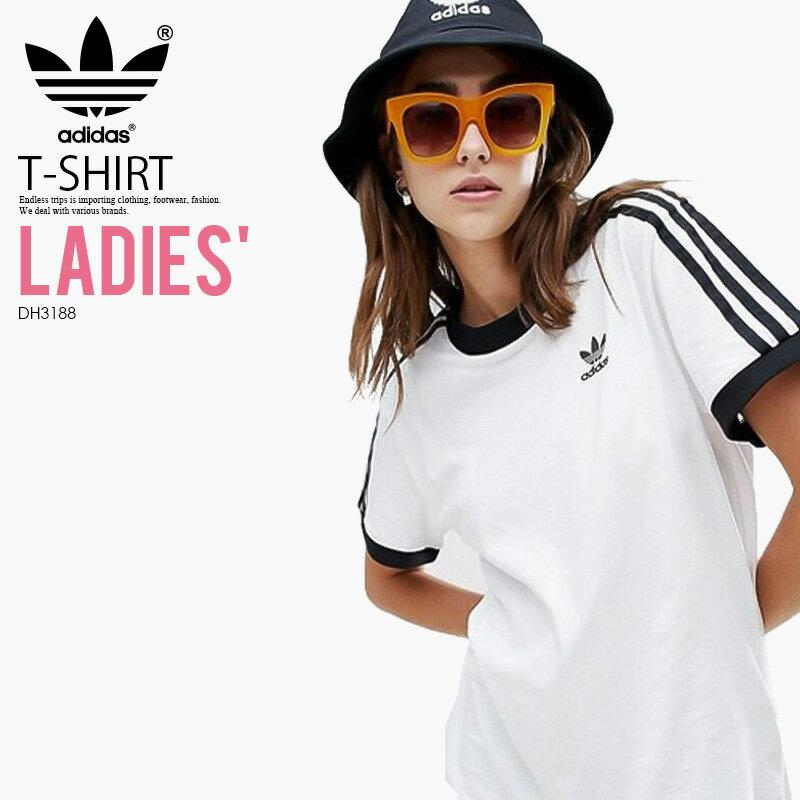 トップス, Tシャツ・カットソー ! ! T adidas () WOMENS 3-STRIPES TEE (3 T) LADYS T WHITE () DH3188 (CY4754 ) ENDLESS TRIP