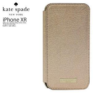 【大人気! 希少!】 kate spade ケイトスペード SAFFIANO INLAY WRAP FOLIO CASE FOR IPHONE XR (サフィアーノ インレイ ラップ フォリオ) iPhone XR 対応 アイフォン ROSE GOLD/GOLD LOGO PLATE (ゴールド) KSIPH-120-SRG ENDLESS TRIP エンドレストリップ