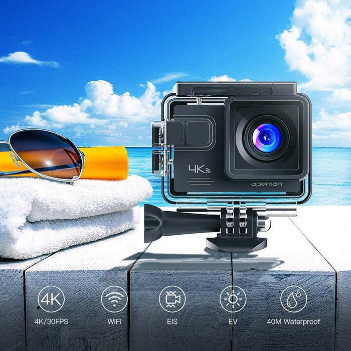 アクションカメラAPEMAN【正規代理店】A79【進化版】4K高画質WEBカメラ2000万画素外部マイクリモコン付きWiFi搭載手ブレ補正40M水中防水カメラ2インチ液晶画面170度広角HDMI出力多数アクセサリーバッテリー*2ウェアラブルカメラ1年保証付き