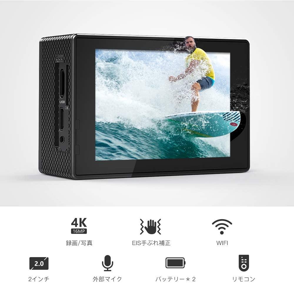 アクションカメラVicture4K/30fps20MP画素ウェブカメラPCWebカメラウェブカメラ外部マイク対応リモコン付きWiFi搭載手振れ補正40M防水水中カメラ170度超広角レンズ充電可大容量バッテリー2個豊富な付属品付きバイク/自転車/車などに取り付け