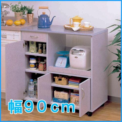×キッチンカウンター 幅90cm ≪人気商品!≫キッチンカウンターワゴン SKC-90 マーブ...