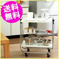 【送料無料】折りたたみキッチンワゴン〔キャスター付きおりたたみワゴン/キッチンカウンター/調理…