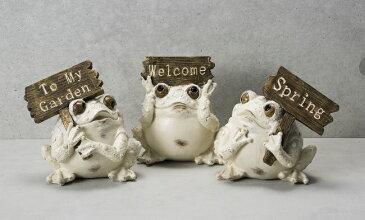 【NEW】【全商品ポイントキャンペーン中】 S6029  森のカエル ホワイト ボード持ち 3個セット L  かえる/カエル/かえる置物/オーナメントかえる/ガーデニング/オブジェ/ガーデン雑貨/ガーデニング雑貨/アニマル/動物置物/母の日/父の日