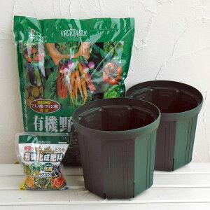 トマトやナスの栽培に!野菜用 とんでもないポット:8号モスグリーン2個と土と肥料のセット