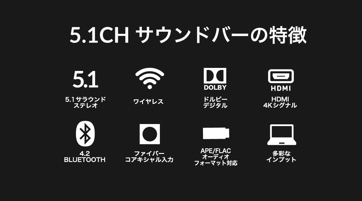 【マラソン限定P10倍】FunLogyサウンドバーFUNLIVE|5.1chスピーカーテレビ用スピーカーbluetooth壁掛けテレビ用HDMIシアターバーステレオスピーカーブルートゥースUSBiPhoneワイヤレスpc高音質ホームシアターサウンドバースピーカーパソコン