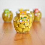 オリーブSOPRACOグリーンオリーブ&アーモンド355gTunisiaPRODUCTチュニジアプロダクトオリーブの実瓶詰食用種なし種抜きパーティおつまみチュニジアナッツ美味しいおしゃれギフト