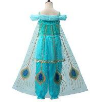 ジャスミン衣装アラビアン衣装子供用プリンセスドレス女の子ダンス衣装お姫様仮装なりきりコスチュームTDLハロウィンパーティー舞台誕生日プレゼントギフトビスチェパンツマントヘアバンドティアラ5点セット(JS03)