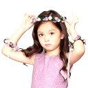 ヘアアクセサリー ヘッドドレス 花冠 子供 髪飾り リストバンドセット...