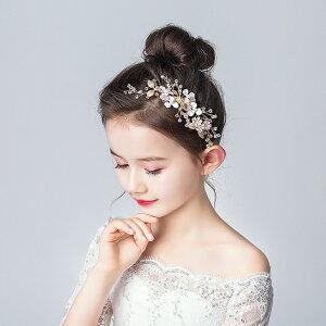 ヘアアクセサリー ヘッドドレス 子供 髪飾り コーム かんざしタイプ 女の子 キッズ 花 フォーマル ホワイト パール ラインストーン ピアノ 発表会 結婚式 ブライダル ウエディング 写真撮影 (HD02)