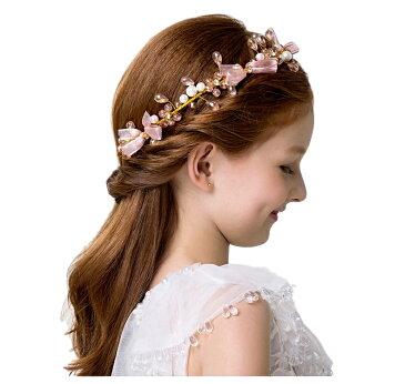 ヘアアクセサリー 髪飾り ヘッドドレス 子供 女の子 フラワー クラシカル ピンク ゴールド ホワイト パール ビーズ リボン 花 可愛い 発表会 誕生会 舞台 記念写真(KD05)