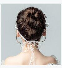 ヘアアクセサリー シンプル ヘッドドレス 髪飾り 子供 女の子 キッズ フォーマル ドレスアップ ホワイト 花 刺繍 ビジュー パール ラインストーン リボン ピアノ 発表会 結婚式 ブライダル ウエディング 可愛い 写真撮影 (KD07)