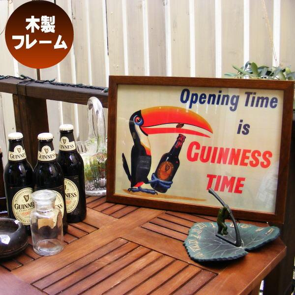 木製看板 壁掛け 壁飾り フォトフレーム ウッドピクチャーフレーム アンティーク Guinness Time ギネスビール トゥーカン 27.5×38cm