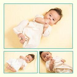 【肌着コンビ肌着オーガニックコットン新生児ベビー赤ちゃん男の子女の子有機栽培綿フラットシーマフライス生地シンプルキナリ】