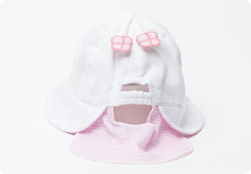 日よけ付き布帛帽子夏用帽子子供帽子水玉