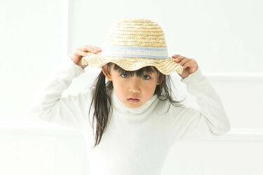 麦わら帽子キッズ子供女の子青リボン通気性可愛いかわいい春夏人気