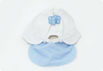 日よけ付き布帛帽子夏用帽子子供帽子花リボン帽子【42cm・44cmサイズ】【メール便