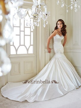 ウエディングドレス マーメイドライン オーダードレス 結婚式 披露宴 二次会 編み上げタイプ レースアップ サイズ調整可能 Y21433