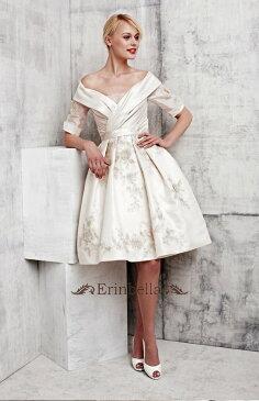 ウェディングドレス ウェディングドレス オフショルダー ミニ ショートドレス (TW0206)