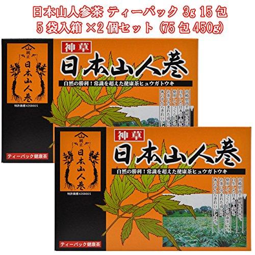 エレガントジャパン 健康食品茶 日本山人参茶 ティーパック 3g 15包 5袋入箱 2個セット【P10】:eサプリ東京