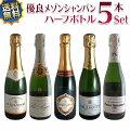 【送料無料】シャンパンハーフボトル5本セット有名メゾンを豪華飲み比べ