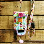 【Pulllu-ぷるる-】シンプル#お花(赤ver.)×ブルーデニムキッズ携帯電話カバー携帯電話ケースストラップ