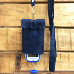 【Pulllu-ぷるる-】ポケット付#紺×チェックキッズ携帯電話カバー携帯電話ケースストラップ