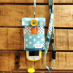【Pulllu-ぷるる-】ポケット付#ドットブルー×デニムキッズ携帯電話カバー携帯電話ケースストラップ
