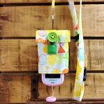 【Pulllu-ぷるる-】リバーシブル#フラワーバタフライ×ストライプキッズ携帯電話カバー携帯電話ケースストラップ