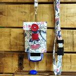 【Pulllu-ぷるる-】リバーシブル#ペイズリー×ブルーデニムキッズ携帯電話カバー携帯電話ケースストラップ