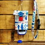 【Pulllu-ぷるる-】シンプル#お魚×ブルーデニムキッズ携帯電話カバー携帯電話ケースストラップ