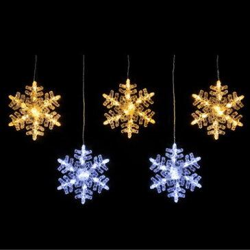 LEDスノーフレークカーテンライト(ゴールド&ホワイト) ★クリスマス イルミネーション