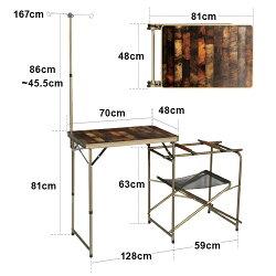 クイックキャンプQUICKCAMPアウトドア折りたたみキッチンテーブル収納袋付きヴィンテージラインQC-KT70Va軽量折り畳みキャンプ用調理台ハイテーブル