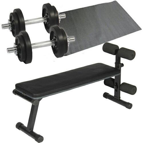 ダンベルトレーニング4点セット:ブラック10kg フラットベンチ ラバーダンベル10kg 2個...